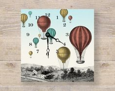 Hot Air Balloon Art Clock - Unique Wall Clock & Desk Clock - Nursery Art - Kids Wall Art. $55.00, via Etsy.