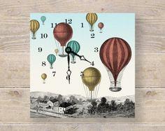 Hot Air Balloon Art Clock - Unique Wall Clock & Desk Clock - Nursery Art - Kids Wall Art. $55.00, via Etsy.