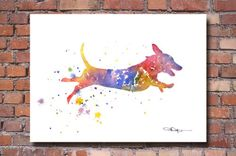 Dachshund Watercolor Painting Art Print by Artist DJ Rogers | eBay