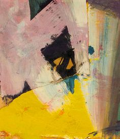 Franz Kline. Title, Black Angle with Yellow (Oil on paper collage laid on canvas), 1959.