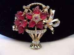 CORO CRAFT Coro Brooch Pin Flower Basket Red Glass Rhinestone Gold Plate #CoroCraft