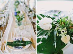 White boho and tropical greens tablescape Sayulita Mexico Wedding