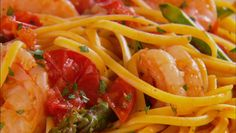 Giada De Laurentiis - Linguine with Shrimp, Asparagus and Cherry Tomatoes
