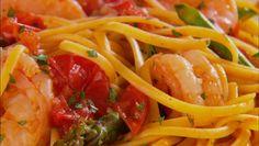 Giada De Laurentiis - Linguine with Shrimp, Asparagus and Cherry Tomatoes
