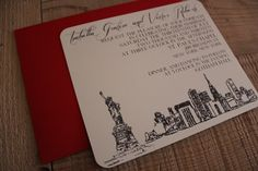 NYC Skyline wedding invitation...red outer envelope provides a nice pop of color.
