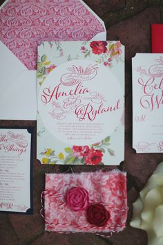 Crimson floral wedding invitation suite | J. Woodbery Photography | see more on: http://burnettsboards.com/2014/09/classic-southern-wedding-inspired-wind/