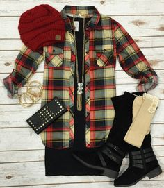 Penny Plaid Flannel Top: Red/Cream