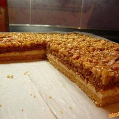 Kinder mliečny rez - rýchly a výborný koláčik bez múky! Czech Desserts, Sweet Desserts, Sweet Recipes, Cake Recipes, Dessert Recipes, Czech Recipes, Russian Recipes, Walnut Cake, Just Eat It