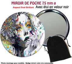 MIROIR DE POCHE ou de SAC. ROND 75mm + ETUI VELOURS NOIR.FEMME PSYCHÉDÉLIQUE (1)