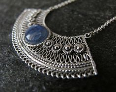 Jewelry, Silver necklace, Kyanite necklace, Filigree Silver necklace,  Yemenite jewelry, Israel jewelry ,blue stone