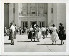 Baylor University students pose outside of the Tidwell Bible Building-1950s by The Texas Collection, Baylor University, via Flickr
