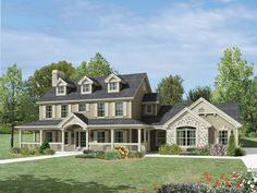 Milburn Manor Country Home  Fabulous Countryside Home Plan from houseplansandmore.com