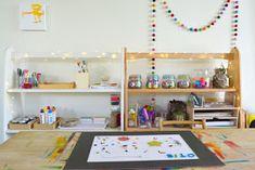 Art and craft shelves from how we montessori Ikea Montessori, Craft Shelves, Art Area, Planning And Organizing, Outdoor School, Art Station, Kids Decor, Home Decor, Art Education