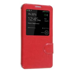 Okeler Hot Red S-View Flip Cover Leather Case