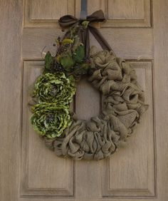 Natural Burlap Wreath with Green and Brown accents--Burlap wreath with Peony Flowers, Leaves, and berries--Burlap Wreath. $65.00, via Etsy.