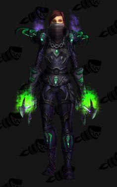 Rogue lvl 80 - Terrorblade Battlegear (Green) - Alt Head: Ebon Mask - Weapon: Scalpel of Unrelenting Agony (lvl Rogue Transmog, Wow Rogue, World Of Warcraft, Rogues, Weapon, Nerdy, Batman, Superhero