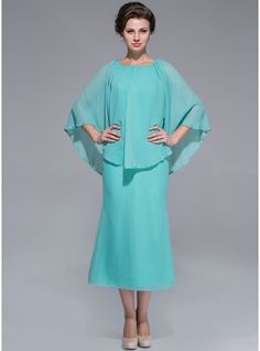 A-Line/Princess Scoop Neck Tea-Length Zipper Up Sleeves 3/4 Sleeves No 2014 Other Colors Spring Summer Fall General Plus Chiffon Mother of the Bride Dress