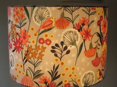 Handmade Fabric Lampshade Orange Contemporary Floral Shabby Chic 25cm