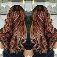 Trendy Hair Highlights : Brown Hair with Blonde and Red Highlights . Red Hair light brown hair with red highlights Dark Brown Hair With Blonde Highlights, Light Brown Hair, Light Hair, Brown Curls, Red Curls, Curls Hair, Dark Red Hair With Brown, Brown With Blonde Highlights, Blonde Streaks