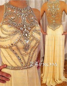 Champagne Round neckline Rhinestone Long Prom Dresses, Formal Dress – 24prom #prom #promdress #dress