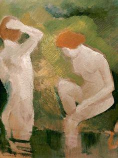 August Macke (German, 1887-1914), Badende am grünen Hang, 1910. Oil on cardboard, 27,2 x 34.7cm