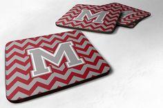 Letter M Chevron Crimson and Grey Foam Coaster Set of 4 CJ1043-MFC