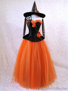 Spiderweb Witch Costume - Black & Orange Corset Dress with Tulle Skirt, Spiderwebs, Gloves and Hat