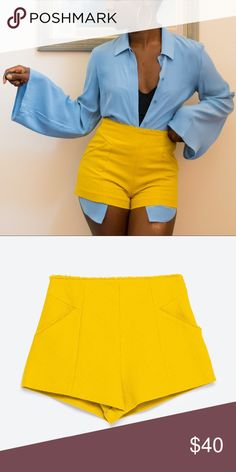 High Waist Tweed Shorts - Zara Mustard yellow high waist shorts. Only worn once and in perfection condition.  100% Cotton Tweed 28 inch waist Zara Shorts