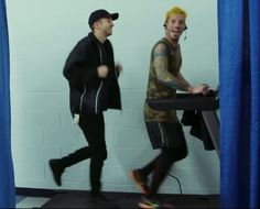 These two nerds on a treadmill together