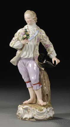 Meissen Porcelain Figure of a Man, Germany, 19th century, polychrome enameled and gilded, the standing figure with his hat in hand and offering a bouquet of applied flowers, on shaped base, with crossed swords mark, ht. 14 in.