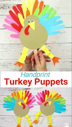 Handprint Turkey Puppets These Thanksgiving Handprint Turkey Puppets are such a fun way to keep the kids entertained this Fall holiday. The Thanksgiving turkey craft's feathers are made from handprints so they're an adorable keepsake as Kids Crafts, Toddler Crafts, Preschool Crafts, Craft Kids, Classroom Crafts, Preschool Kindergarten, Craft Activities, Thanksgiving Crafts For Toddlers, Thanksgiving Turkey
