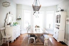 farmhouse table, remy chair, edison chandelier, shabby chic, white decor, rustic chic www.bvintage.ca