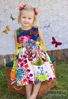 Party Bow Dress Butterflies and Flowers