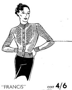 The Vintage Pattern Files: 1930's Knitting - Francis A Cable Knit Cardigan