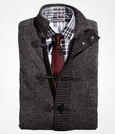 Waffle Knit Carrdigan Gift: Waffle Stitch Toggle-Front Cardigan, Plaid Fitted Cotton Shirt, Skinny Silk Tie - Express Men