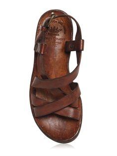 OFFICINE CREATIVE - WASHED LEATHER SANDALS - LUISAVIAROMA - LUXURY SHOPPING WORLDWIDE SHIPPING - FLORENCE Officine Creative, Walk In My Shoes, Brown Leather Sandals, Luxury Shop, Holiday Fashion, Shoes Sandals, Wedges, Aladdin, My Style