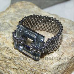 chain mail and crystal ring (swarovsky and Miyuki)
