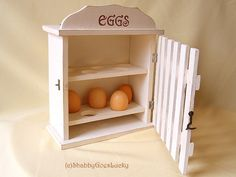 Rare wooden egg box with door kitchen cabinet by ShabbyGoesLucky, Diy Kitchen Decor, Shabby Chic Kitchen, Shabby Chic Cottage, Vintage Shabby Chic, Small Woodworking Projects, Unique Woodworking, Diy Wood Projects, Cabinet Boxes, Kitchen Cabinet Doors
