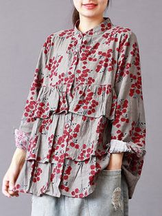Floral Printed Stand Collar Vintage Women Long Sleeve Blouses look not only special, but also they always show ladies' glamour perfectly and bring surprise. Come to NewChic to choose the best one for yourself! Blouse Vintage, Vintage Shirts, Girl Fashion, Fashion Dresses, Fashion Spring, Fashion Fashion, Moda Chic, Cheap Blouses, Chic Outfits