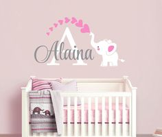 Elephant Custom Name Personalized Initial Wall Decal Sticker For - Custom vinyl wall decals nursery