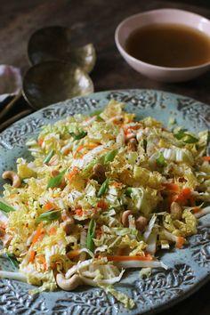 Napa Cabbage and Cashew Slaw — Y Delicacies Slaw Recipes, Raw Food Recipes, Veggie Recipes, Vegetarian Recipes, Dinner Recipes, Healthy Recipes, Seafood Recipes, Bread Recipes, Holiday Recipes