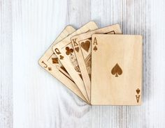 Wood playing card  Engraved Laser Cut  от VisitingCINDERELLA