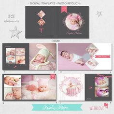 PSD pages), Album Template - Newborn, baby shower, 15 spread and a cover, layflat - Adobe Photoshop, Lightroom, Photoshop Actions, Shower Bebe, Baby Shower, Conception Album, Album Digital, Book Infantil, Baby Photo Books