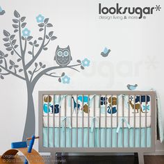 Owl Tree Wall Sticker for your modern nursery - Bird Tree Wall Decal - 0039 on Etsy, $78.00