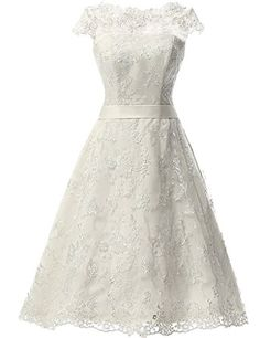 bd61fcf87e40 JAEDEN Women s Vintage Lace Wedding Dress Short Bridal Gown Dresses with  Sash at Amazon Women s Clothing store