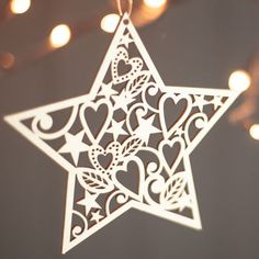 Lasercut Wooden Christmas Heart And Star Decorations