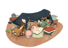 Pillow fortress   Kids Illustration by S.K.Y. van der Wel