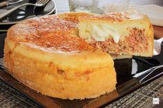 Torta cremosa de calabresa com arroz