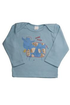 "Blue cow newborn boys' long-sleeved top with a fun ""Farm Animal"" design, finished with a Naartjie Kids SA label. 100% cotton excluding trims."