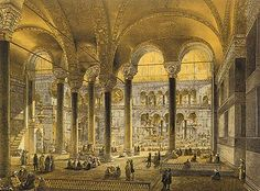 Aya Sofya Mosque, Istanbul, as recently restored by order of H. the Sultan Abdul Medjid / from the original drawings by Chevalier Gaspard Fossati, 1852 Turkish Architecture, Art And Architecture, Hagia Sophia, Grand Library, Library Of Alexandria, Old Libraries, Ancient Greece, Roman Empire, Islamic Art